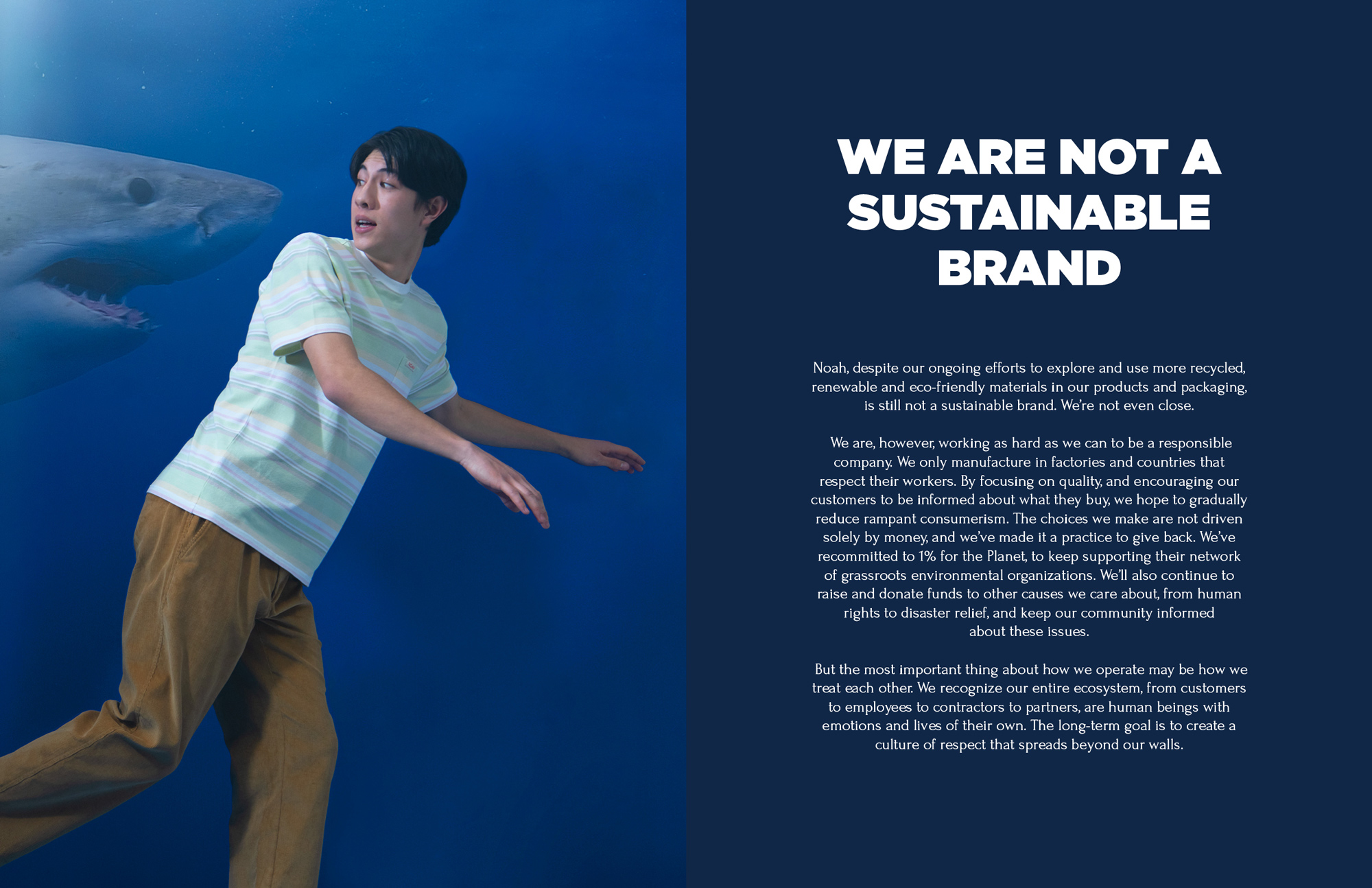 WE ARE NOT A SUSTAINABLE BRAND